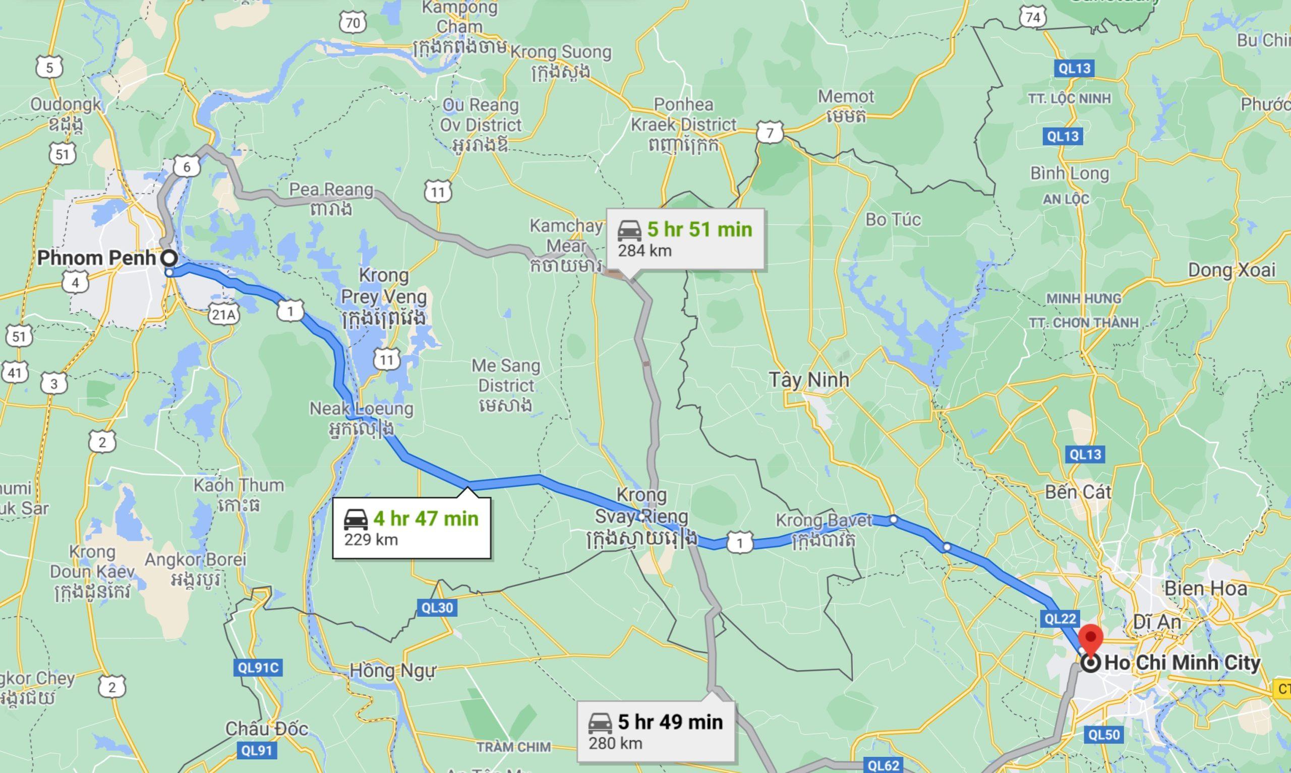 Phnom Penh distance to Ho Chi Minh Vietnam